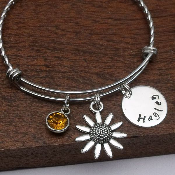 Daisy / sunflower  name charm bracelet personalised birthstone